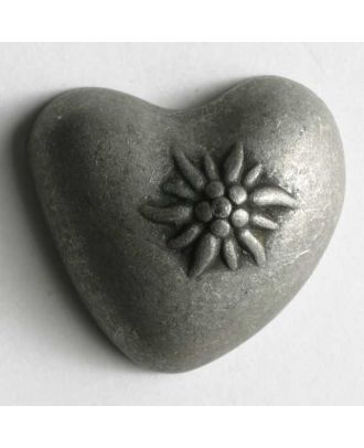 Herzknopf gewölbt, mit Edelweiß , vollmetall - Größe: 14mm - Farbe: altzinn - Art.Nr. 240926