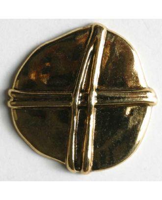 Vollmetallknopf, unregelmäßige Form mit Schleife überkreuz  - Größe: 23mm - Farbe: altgold - Art.Nr. 340372