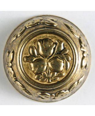 Vollmetallknopf, florale Motive sowohl im Innen- und Außenbereich, mit Öse - Größe: 28mm - Farbe: altgold - Art.Nr. 370168