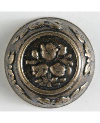 Vollmetallknopf, florale Motive sowohl im Innen- und Außenbereich, mit Öse - Größe: 25mm - Farbe: altmessing - Art.Nr. 350254