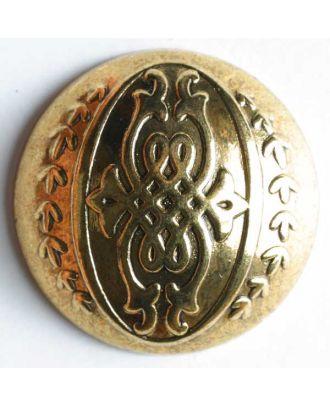 Vollmetallknopf, antik, mit Pfeilen und Schnörkeleien - Größe: 23mm - Farbe: altgold - Art.Nr. 340432