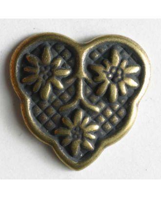 Herzknopf mit 3 Edelweiß, vollmetall - Größe: 18mm - Farbe: altmessing - Art.Nr. 300519