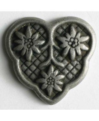 Herzknopf mit 3 Edelweiß, vollmetall - Größe: 25mm - Farbe: altzinn - Art.Nr. 360259