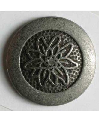 Vollmetallknopf mit eingraviertem Edelweiß - Größe: 23mm - Farbe: altzinn - Art.Nr. 330367