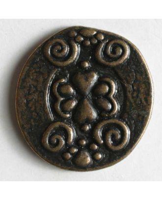 Vollmetallknopf, antik, mit Herzen und Schnörkel - Größe: 23mm - Farbe: altmessing - Art.Nr. 330368