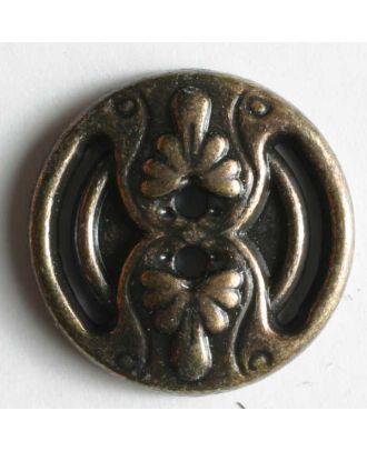 Vollmetallknopf, antiker Stil mit Blütenblättern - Größe: 14mm - Farbe: altmessing - Art.Nr. 240933