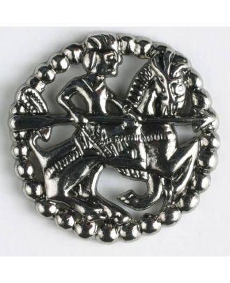 Vollmetallknopf in antikem Stil mit bewaffnetem Reiter zu Pferd und Öse - Größe: 35mm - Farbe: altsilber - Art.Nr. 370334
