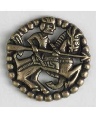 Vollmetallknopf in antikem Stil mit bewaffnetem Reiter zu Pferd und Öse - Größe: 23mm - Farbe: altmessing - Art.Nr. 260823