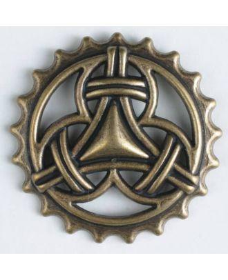 Vollmetallknopf in mittelalterlichem Stil mit Öse - Größe: 23mm - Farbe: altmessing - Art.Nr. 260824