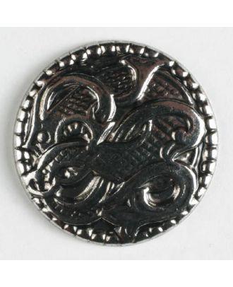 Vollmetallknopf mit Blätterranken und Öse - Größe: 15mm - Farbe: altsilber - Art.Nr. 201306