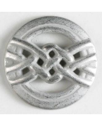 Vollmetallknopf mit Überhandknoten - Größe: 25mm - Farbe: mattsilber - Art.Nr. 350279
