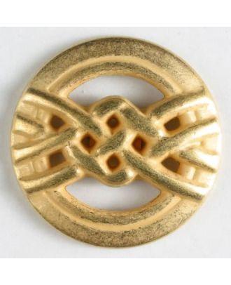 Vollmetallknopf mit Überhandknoten - Größe: 25mm - Farbe: mattgold - Art.Nr. 360309