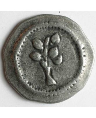Vollmetallknopf, unregelmäßige Form mit Blütenknospen  - Größe: 30mm - Farbe: altzinn - Art.Nr. 370184