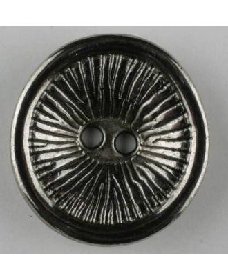 Vollmetallknopf rund, mit Sonnenstrahlen und hochgezogenem Rand, 2  Loch - Größe: 23mm - Farbe: altsilber - Art.Nr. 331027