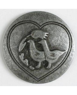 Vollmetallknopf mit glücklichen Enten in eingefrästem Herz, mit Öse - Größe: 30mm - Farbe: altzinn - Art.Nr. 370204