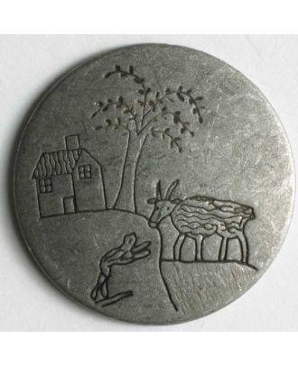 Vollmetallknopf mit eingravierter Landschaft mit Baum, Bauernhaus und Tieren - Größe: 25mm - Farbe: altzinn - Art.Nr. 350273