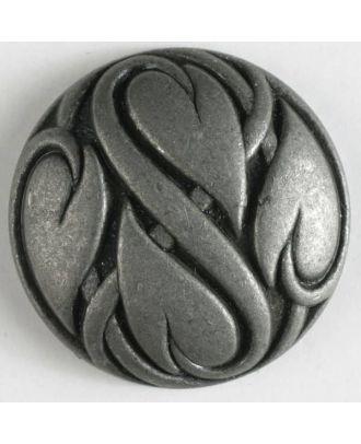 Vollmetallknopf mit umschlungenen Herzen und Öse - Größe: 25mm - Farbe: altzinn - Art.Nr. 350296