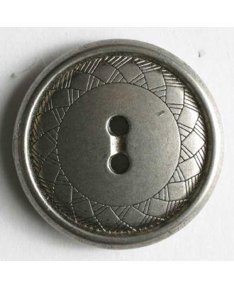 Vollmetallknopf mit feinen Eingravierungen im Randbereich und 2 Löchern- Größe: 23mm - Farbe: mattsilber - Art.Nr. 330456