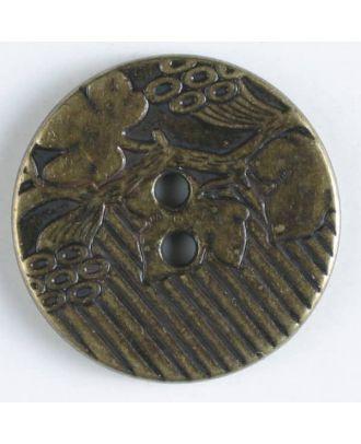 Vollmetallknopf mit aufwändig gestalteter Oberfläche Weinranke und 2 Löchern  - Art.Nr. 300686