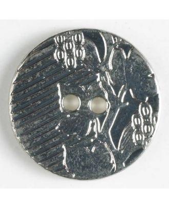 Vollmetallknopf mit aufwändig gestalteter Oberfläche Weinranke und 2 Löchern - Größe: 20mm - Farbe: altzinn - Art.Nr. 300687