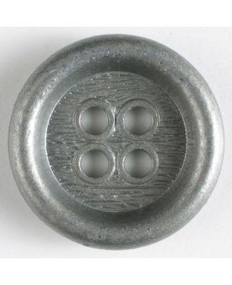 Vollmetallknopf mit schönem breiten Rand, Innenteil mit Borkenmuster und 4 großen Löchern - Größe: 23mm - Farbe: altsilber - Art.Nr. 310438