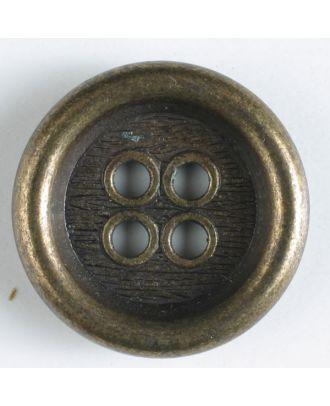Vollmetallknopf mit schönem breiten Rand, Innenteil mit Borkenmuster und 4 großen Löchern - Größe: 23mm - Farbe: altmessing - Art.Nr. 310451
