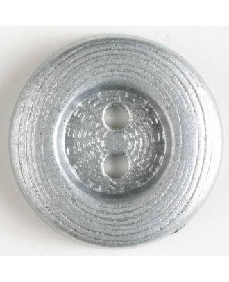 edler Vollmetallknopf mit breitem Rand, gerillter Oberfläche und 2 Löchern - Größe: 15mm - Farbe: altsilber - Art.Nr. 241058