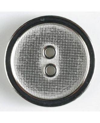Vollmetallknopf mit schmalem schwarzen Rand, Oberfläche durchscheinend mit kleinen Bläschen und 2 Löchern - Größe: 18mm - Farbe: silber - Art.Nr. 310447