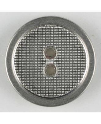 Vollmetallknopf, gehämmerter Innenbereich glatt umrandet, 2 Loch - Größe: 23mm - Farbe: mattsilber - Art.Nr. 341110