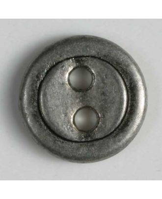 Vollmetallknopf, 2-Loch mit schmalem Rand - Größe: 15mm - Farbe: altzinn - Art.Nr. 241074