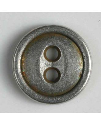 Vollmetallknopf, 2-Loch mit schmalem Rand - Größe: 15mm - Farbe: altzinn - Art.Nr. 241075