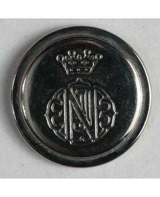 Wappenknopf, vollmetall mit Rand und Öse - Größe: 15mm - Farbe: silber - Art.Nr. 241077