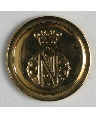 Wappenknopf, vollmetall mit Rand und Öse - Größe: 20mm - Farbe: gold - Art.Nr. 320536
