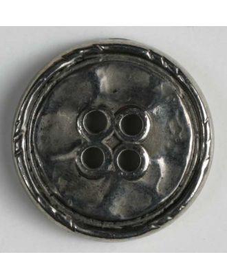 Vollmetallknopf, Rand mit Einkerbungen, 4-Loch - Größe: 15mm - Farbe: altsilber - Art.Nr. 241078