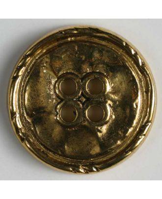Vollmetallknopf, Rand mit Einkerbungen, 4-Loch - Größe: 25mm - Farbe: altgold - Art.Nr. 360362