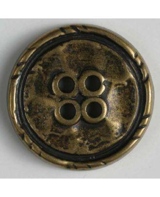 Vollmetallknopf, Rand mit Einkerbungen, 4-Loch - Größe: 25mm - Farbe: altmessing - Art.Nr. 350355