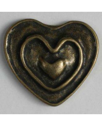Herzknopf, vollmetall mit Doppelrand und Öse - Größe: 28mm - Farbe: altmessing - Art.Nr. 360363