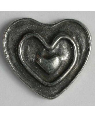 Herzknopf, vollmetall mit Doppelrand und Öse - Größe: 28mm - Farbe: altzinn - Art.Nr. 360364