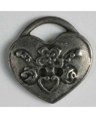 Herzknopf, vollmetall, antiker Stil  mit eingearbeiteter Öse - Größe: 25mm - Farbe: altzinn - Art.Nr. 350356