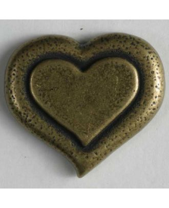 Herzknopf, vollmetall - Größe: 15mm - Farbe: altzinn - Art.Nr. 261044