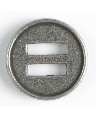 Vollmetallknopf mit schmalem Rand und 2 großen rechteckigen Löchern - Größe: 18mm - Farbe: altzinn - Art.Nr. 290729
