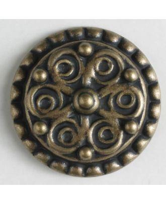 Vollmetallknopf mit dekorativem Muster und gepunkteter Einfassung, mit Öse - Größe: 15mm - Farbe: altmessing - Art.Nr. 261079