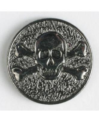 Vollmetallknopf mit Öse und Gift-Symbol Schädel mit gekreuzten Knochen - Größe: 20mm - Farbe: altsilber - Art.Nr. 320629