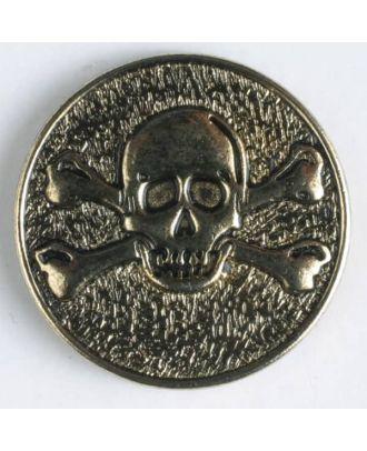 Vollmetallknopf mit Öse und Gift-Symbol Schädel mit gekreuzten Knochen - Größe: 25mm - Farbe: altgold - Art.Nr. 360462