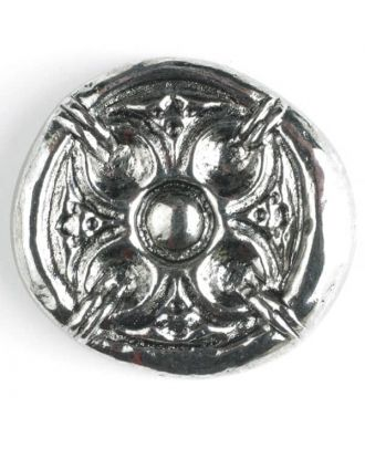 Vollmetallknopf, antik anmutendes reliefartiges Motiv mit Öse - Größe: 30mm - Farbe: altsilber - Art.Nr. 370385