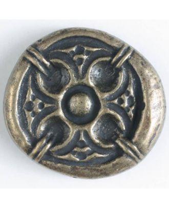 Vollmetallknopf, antik anmutendes reliefartiges Motiv mit Öse - Größe: 30mm - Farbe: altmessing - Art.Nr. 370386