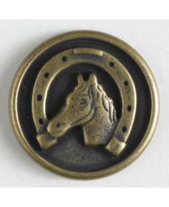 Metallknopf Pferdekopf / Hufeisen mit Öse - Größe: 15mm - Farbe: altmessing - Art.Nr. 241201