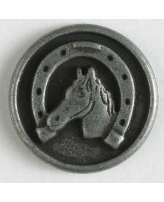 Metallknopf Pferdekopf / Hufeisen mit Öse - Größe: 15mm - Farbe: altzinn - Art.Nr. 241202