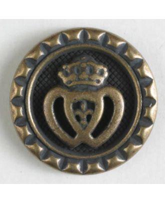 Metallknopf Krone mit Öse - Größe: 20mm - Farbe: altmessing - Art.Nr. 310758