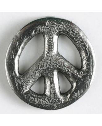 Vollmetallknopf Friedenszeichen mit Öse - Größe: 15mm - Farbe: altsilber - Art.Nr. 261108
